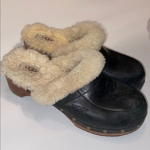 2/$45 Ugg fuzzy black wooden clogs 7
